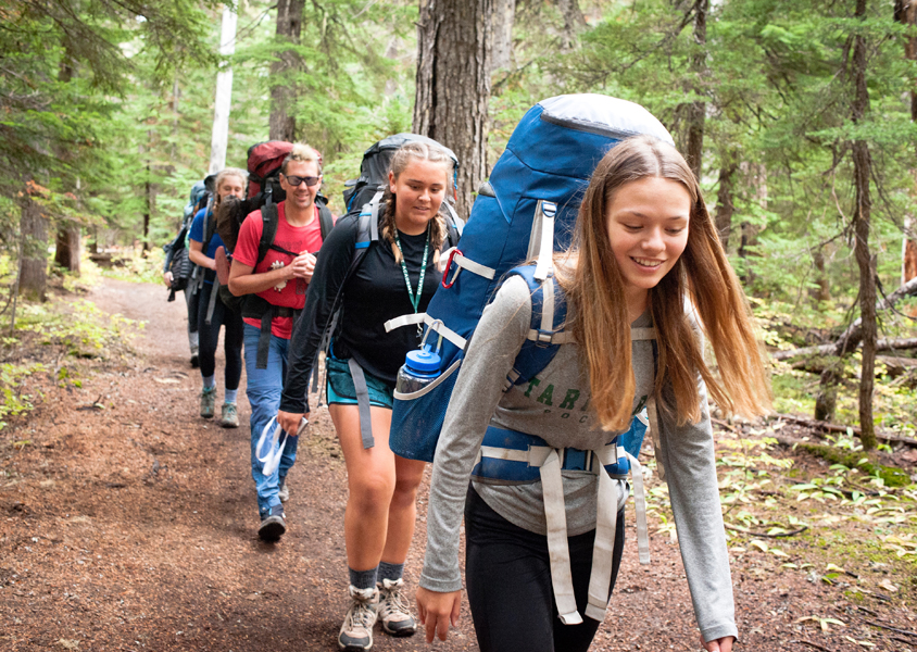 Sophomores hiking during Outdoor Ed Week
