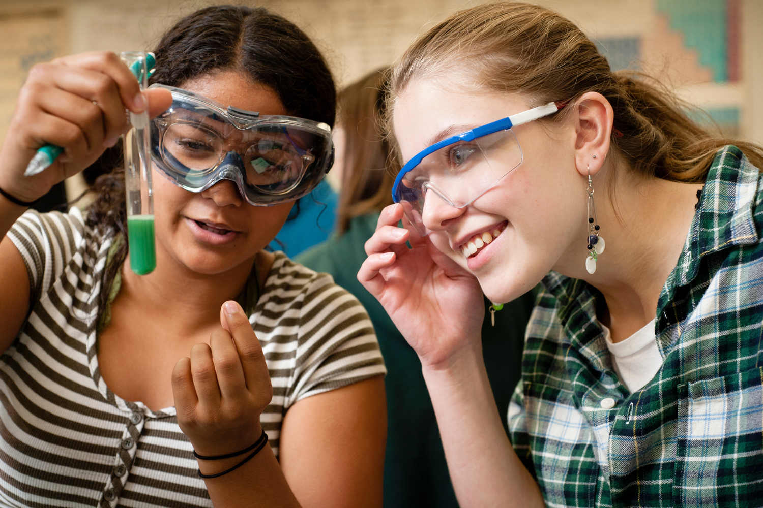 Charles Wright Academy Upper School students perform a chemistry lab