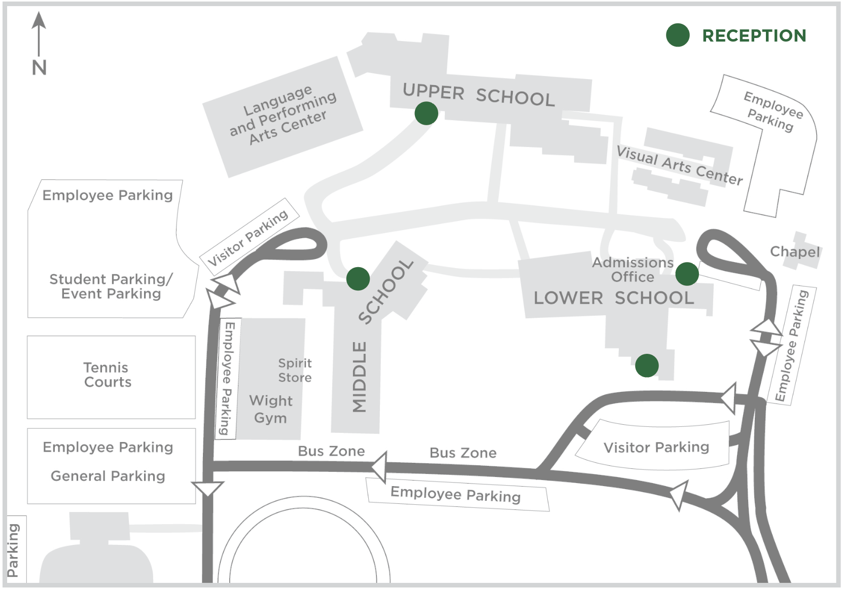 Charles Wright Academy Reception Campus Map